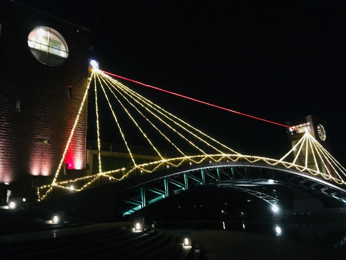 富岩運河環水公園:夜の天門橋